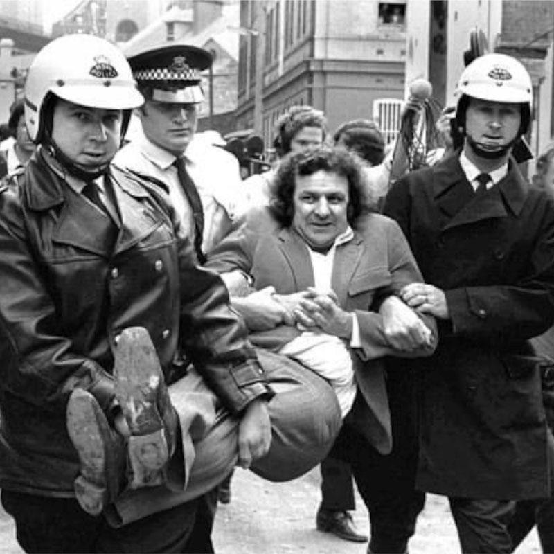 Jack Mundey being arrested